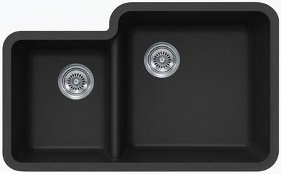 """33"""" Lexington Undermount Composite Granite  Double Bowl Sink 450-DOM Black"""