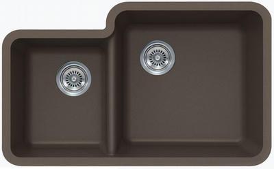 """33"""" Lexington Undermount Composite Granite  Double Bowl Sink 458-DOM MOCHA"""