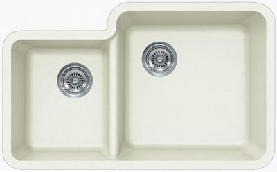 "33"" LexingtonUndermount Composite Granite  Double Bowl Sink 454-DOM White"