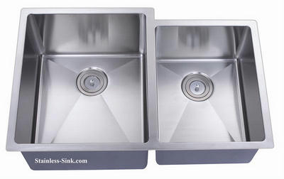 "32"" Belmont Stainless Steel Double Bowl Offset Undermount Kitchen Sink 16 Gauge BEL-3264-DOM"