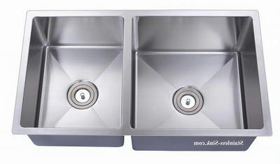 "33"" Belmont Stainless Steel Double Bowl Undermount Kitchen Sink Offset Bowls 16 Gauge BEL-3318-DOM-R"