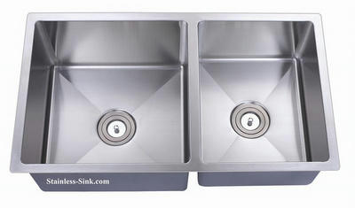 "33"" 60/40 or 40/60 Reversible Double Bowl Undermount Stainless Steel Sink: BEL-3318-DOM (16 gauge)"