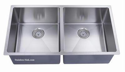 "37"" 50/50 Equal Double Bowl Undermount Stainless Steel Kitchen Sink: BEL-3720-DOM (16 gauge)"
