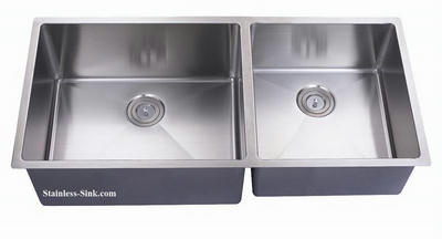 "43"" 60/40  Double Bowl Large Undermount Stainless Steel Kitchen Sink: BEL-4320-DOM (16 gauge)"