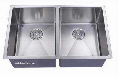 "32"" 50/50 Equal Double Bowl Undermount Stainless Steel Kitchen Sink: BEL-5050-DOM (16 gauge)"
