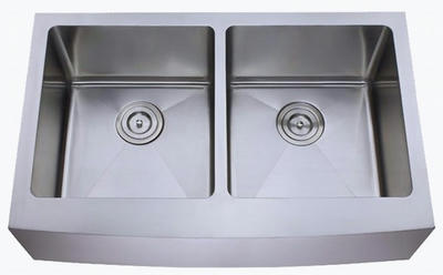 "33"" Apron Farmhouse 50/50 Equal Double Bowl Stainless Steel Sink with Curved Front: BEL-632-DOM (16 gauge)"