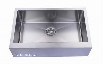 "33"" Apron Farmhouse Single Bowl Stainless Steel Sink with Flat Front: BEL-820-DOM (16 gauge)"