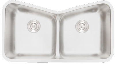 "33"" Torino Undermount Stainless Steel Double Bowl Kitchen Sink Unique Butterfly 16 Gauge Torino-218- WITH FREE ACCESSORIES"