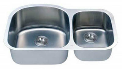 "32"" Italia Undermount Stainless Steel Double Bowl Kitchen Sink IT-100M with FREE ACCESSORIES"