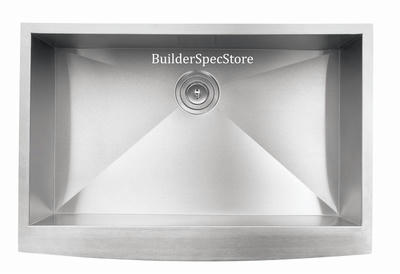 "33"" Zero Radius Curved Front Stainless Steel Single Bowl Apron Sink ZE-633-DOM"