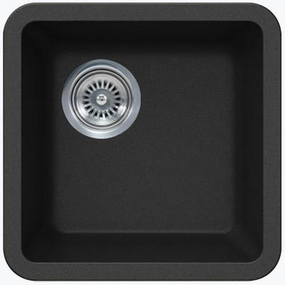 "14"" Lexington Undermount Composite Granite Single Bowl Sink 161-DOM Black"