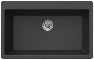 "33"" Lexington Drop-In or Undermount Composite Granite  Single Bowl Sink 341-DOM Black"