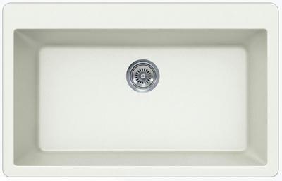 "33"" Lexington Drop-In or Undermount Composite Granite  Single Bowl Sink 345-DOM White"