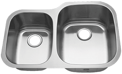 "31"" Ellis 40/60 Undermount Stainless Steel Double Bowl Kitchen Sink 18 Gauge EL-3121R"