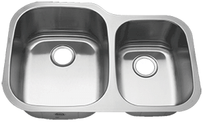 "31"" Ellis 60/40 Undermount Stainless Steel Double Bowl Kitchen Sink 18 Gauge EL-3121"