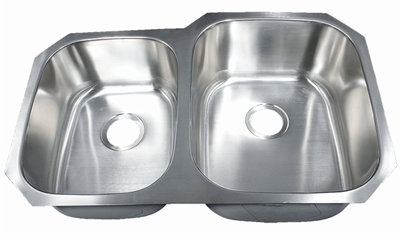 "32"" Ellis 40/60 Undermount Stainless Steel Double Bowl Kitchen Sink 18 Gauge EL-3221R"