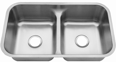 "32"" Ellis LOW DIVIDE 50/50 Undermount Stainless Steel Double Bowl Sink 18 Gauge with Center Drain EL-LowD"