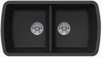 """33"""" Lexington Undermount Composite Granite  Double Bowl Sink 305-DOM Black"""