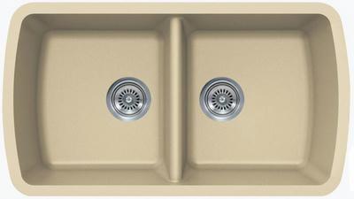 """33"""" Lexington Undermount Composite Granite  Double Bowl Sink 307-DOM Beige"""