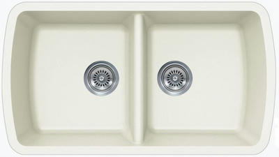 "33"" Lexington Undermount Composite Granite  Double Bowl Sink 309-DOM White"