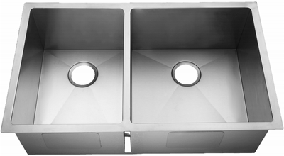 "33"" Near-Zero Radius Undermount Stainless Steel 40/60 Double Bowl Kitchen Sink 15 Gauge NZR-3320-Reverse"