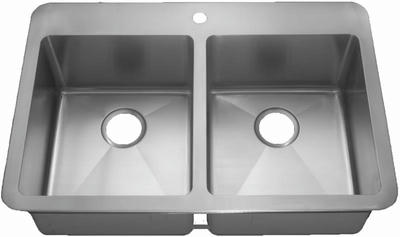 "33"" Near-Zero Radius 33x22 Top-Mount / Drop In Stainless Steel Double Bowl Kitchen Sink 15 Gauge NZR-3322"