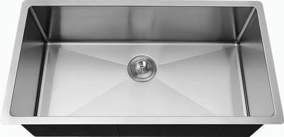 "33"" Italia Large Stainless Steel Single Bowl Undermount Near Zero-Radius Kitchen Sink IT-1900-R with FREE Accessories"