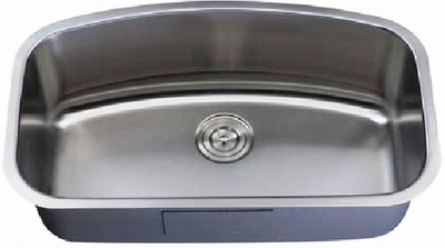 "31"" Italia Large Undermount Stainless Steel Single Bowl Kitchen Sink IT-200-LM with FREE ACCESSORIES"