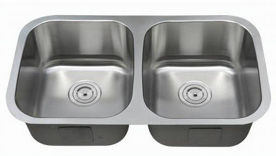 "32"" Italia Undermount Stainless Steel Double Bowl Kitchen Sink IT-5050 with FREE ACCESSORIES"
