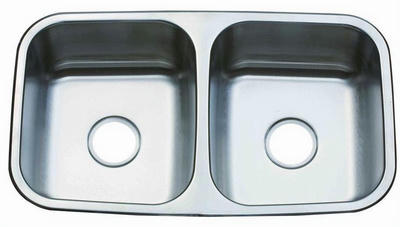 "31"" Italia Top-Mount or Undermount Stainless Steel Double Bowl Kitchen Sink ITZ-100"