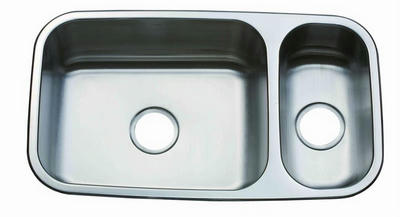 "31"" Italia Reversible Top-Mount or Undermount Stainless Steel Double Bowl Kitchen Sink ITZ-200"
