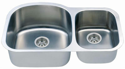 "34"" Italia Undermount Stainless Steel Double Bowl Kitchen Sink IT-100 with FREE ACCESSORIES"