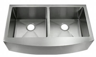 "36"" Near Zero Radius Curved Front Stainless Steel Double Bowl Apron Kitchen Sink IT-1200 with FREE ACCESSORIES"