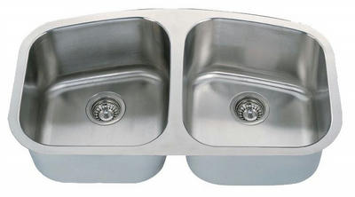 "34"" Italia Undermount Stainless Steel Double Bowl Kitchen Sink IT-200 with FREE ACCESSORIES"