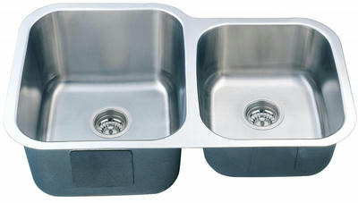 "32"" Italia Undermount Stainless Steel Double Bowl Kitchen Sink IT-300S with FREE ACCESSORIES"