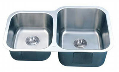 "34"" Italia Undermount Stainless Steel Double Bowl Kitchen Sink IT-300D with FREE ACCESSORIES"