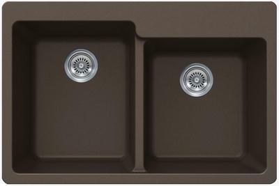 "33"" Lexington Drop-In or Undermount Composite Granite  Double Bowl Sink 533-DOM Mocha"