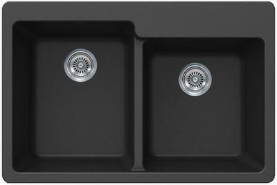 "33"" Lexington Drop-In or Undermount Composite Granite  Double Bowl Sink 525-DOM Black"
