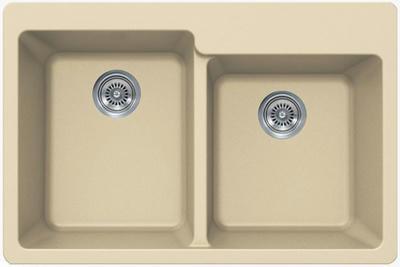 "33"" Lexington Drop-In or Undermount Composite Granite  Double Bowl Sink 527-DOM Beige"