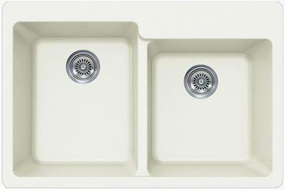 "33"" Lexington Drop-In or Undermount Composite Granite  Double Bowl Sink 529-DOM White"