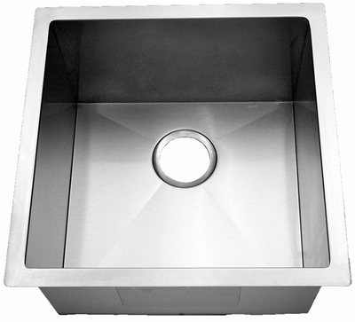 "18"" Near-Zero Radius Undermount Stainless Steel Single Bowl Kitchen, Bar, Prep Sink 15 gauge NZR-1818"