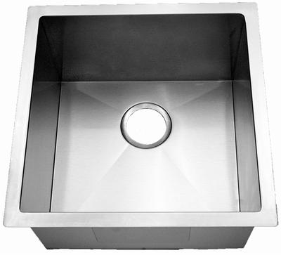 """18"""" Near-Zero Radius Undermount Stainless Steel Single Bowl Kitchen, Bar, Prep Sink 15 gauge NZR-1818"""