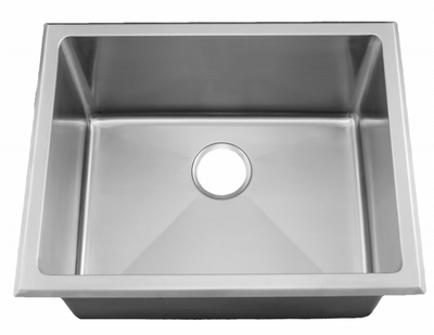 "24"" Near-Zero Radius UTILITY LAUNDRY Sink Top-mount or Undermount Stainless Steel Single Bowl Sink 15 Gauge NZR-2419"