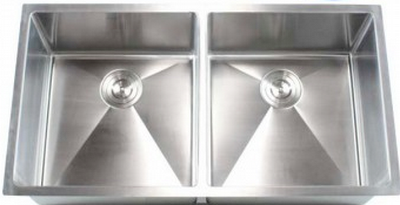 "37"" Near-Zero Radius Undermount Stainless Steel Double Bowl Kitchen Sink 15 Gauge NZR-3720"