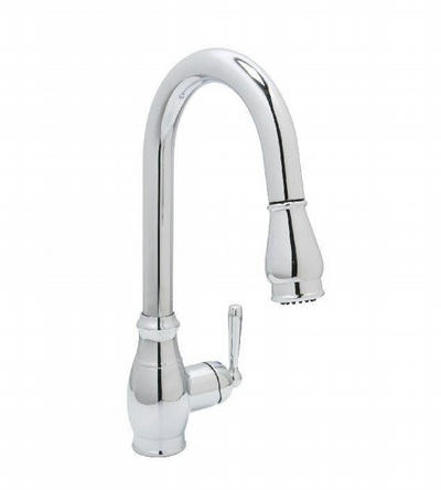 Huntington Brass Isabelle Gooseneck Faucet with MAGNETIC Pull Down Spray - One or Three Hole Installation K48110 in CHROME Finish