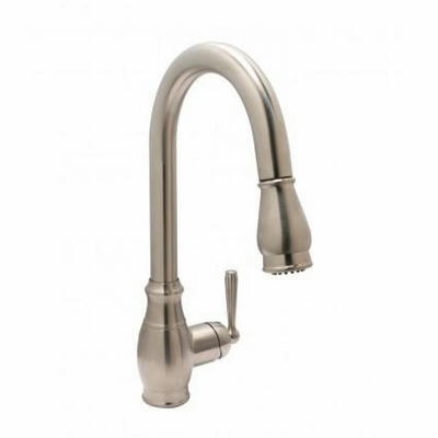 Huntington Brass Isabelle Gooseneck Faucet with MAGNETIC Pull Down Spray - One or Three Hole Installation K48110 in BRUSHED SATIN NICKEL Finish