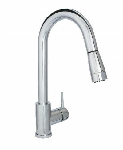 Huntington Brass Flux Gooseneck Faucet with MAGNETIC Pull Down Sprayer - One or Three Hole Installation K48802 in CHROME Finish