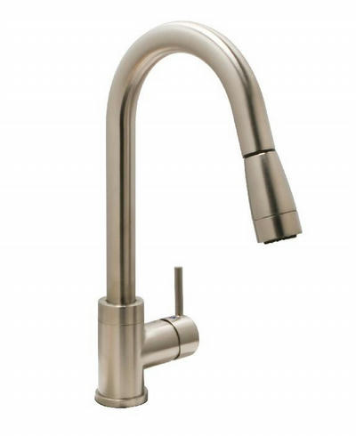 Huntington Brass Flux Gooseneck Faucet with MAGNETIC Pull Down Sprayer - One or Three Hole Installation K48802 in BRUSHED SATIN NICKEL Finish
