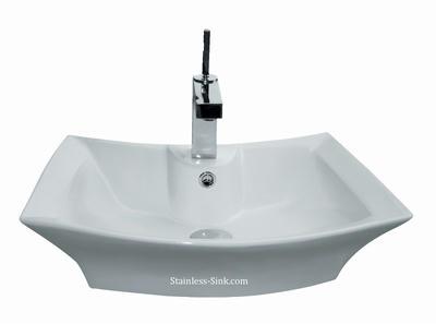 Sienna white vessel sink -   bathroom porcelain china top mount SIE-215-DOM
