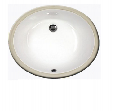 "Sienna 19"" bathroom vanity sink - porcelain china undermount 2210 - White Bisque Black"